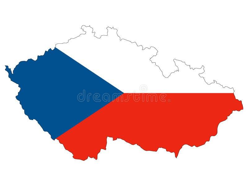 Łącząca flaga Czechia i mapa ilustracja wektor