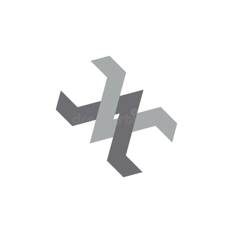 Łączący strzałkowaty geometryczny druciany przemysłowy logo wektor royalty ilustracja