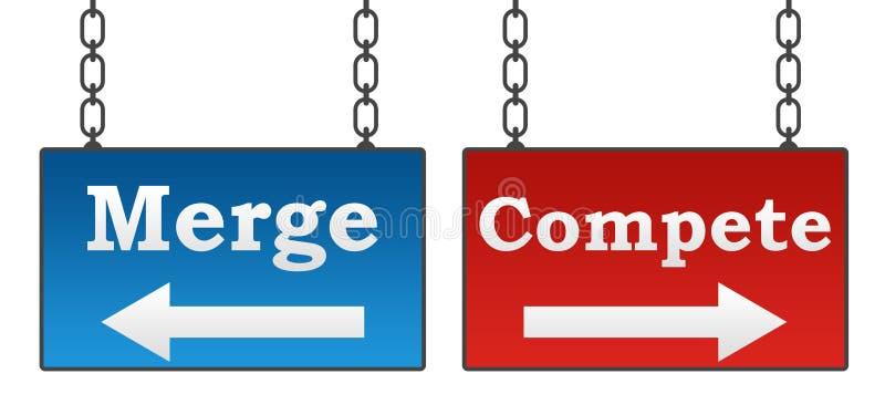 Łączenie Współzawodniczy Signboard ilustracja wektor