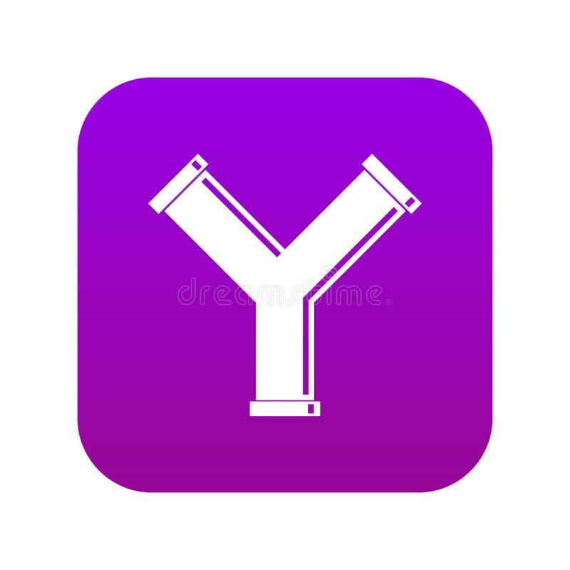 Łączna drymba w formy Y listu ikony cyfrowych purpurach ilustracji