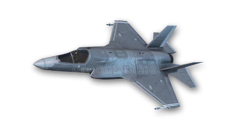 Łączny strajkowy myśliwiec w locie, samolot wojskowy odizolowywający na bielu royalty ilustracja