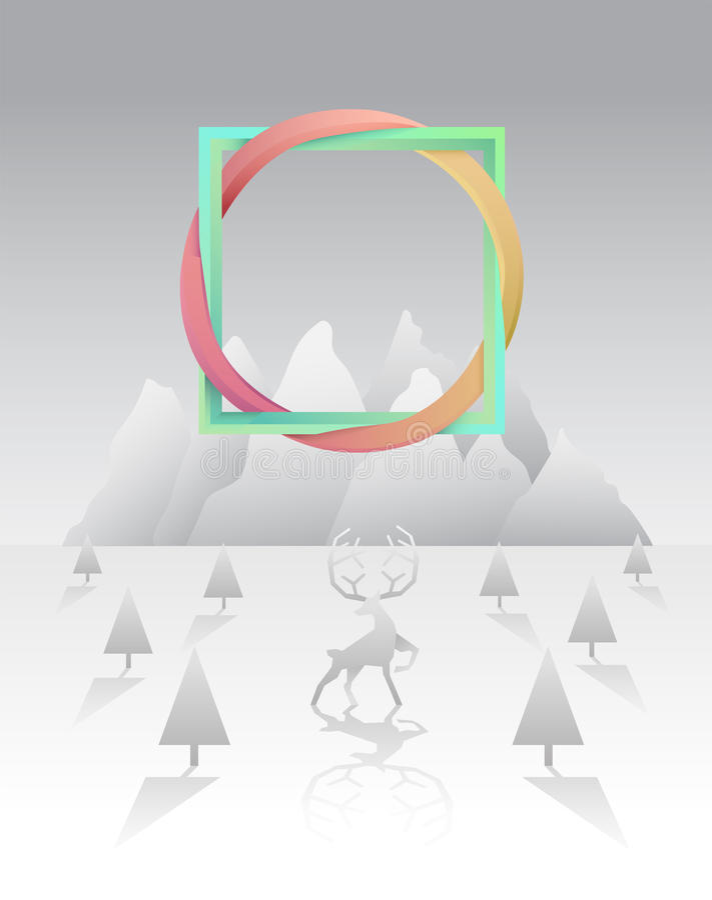 Łączyć kwadrat i okrąg nad śnieżną sceną ilustracja wektor