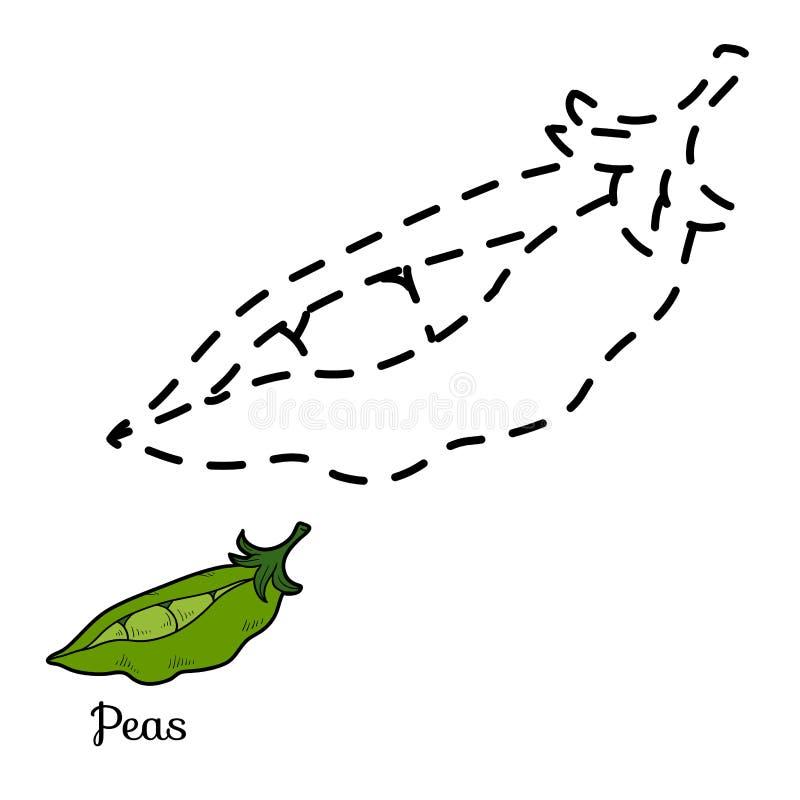 Łączy kropki grę: owoc i warzywo (grochy) ilustracja wektor
