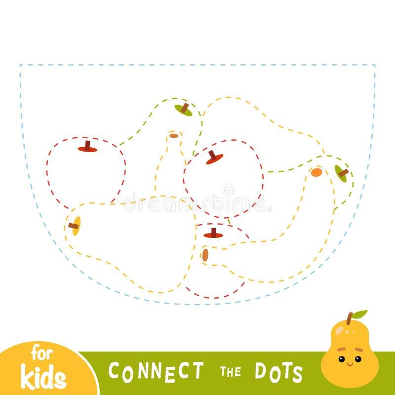 Łączy kropki, gra dla dzieci, Owocowy puchar ilustracji