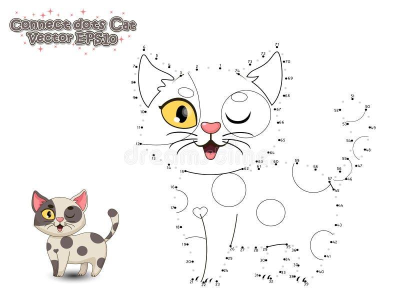 Łączy kropki i Maluje Ślicznego kreskówka kota Edukacyjna gra fo royalty ilustracja