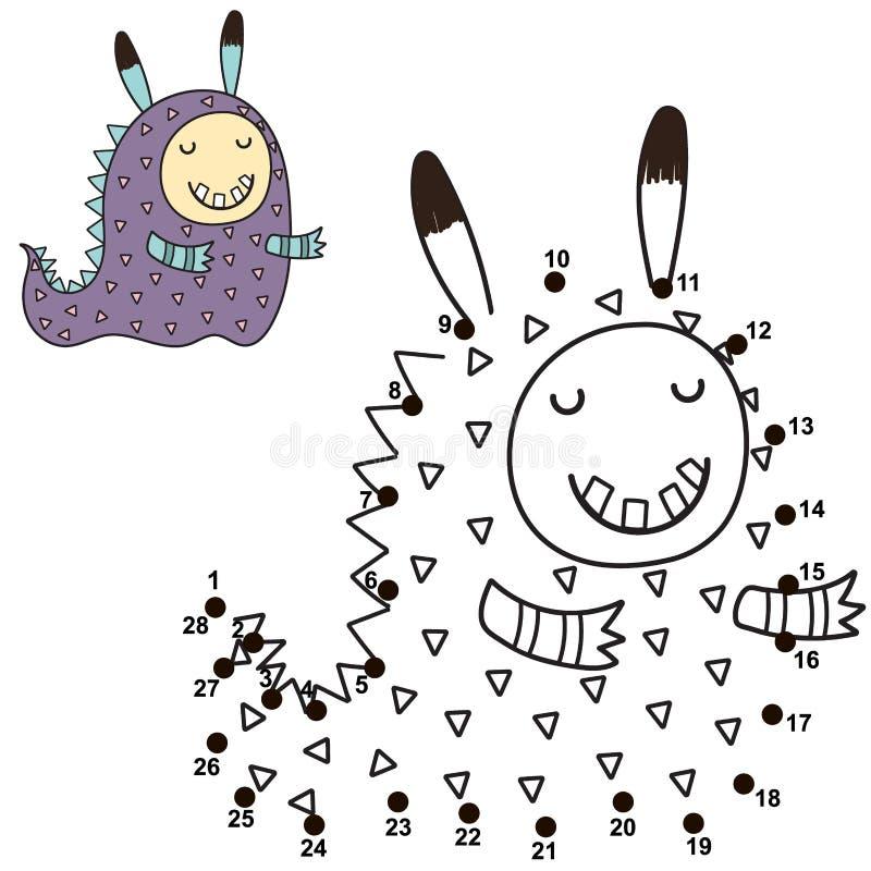 Łączy kropki i rysuje ślicznego potwora Loteria liczbowa dla dzieci royalty ilustracja