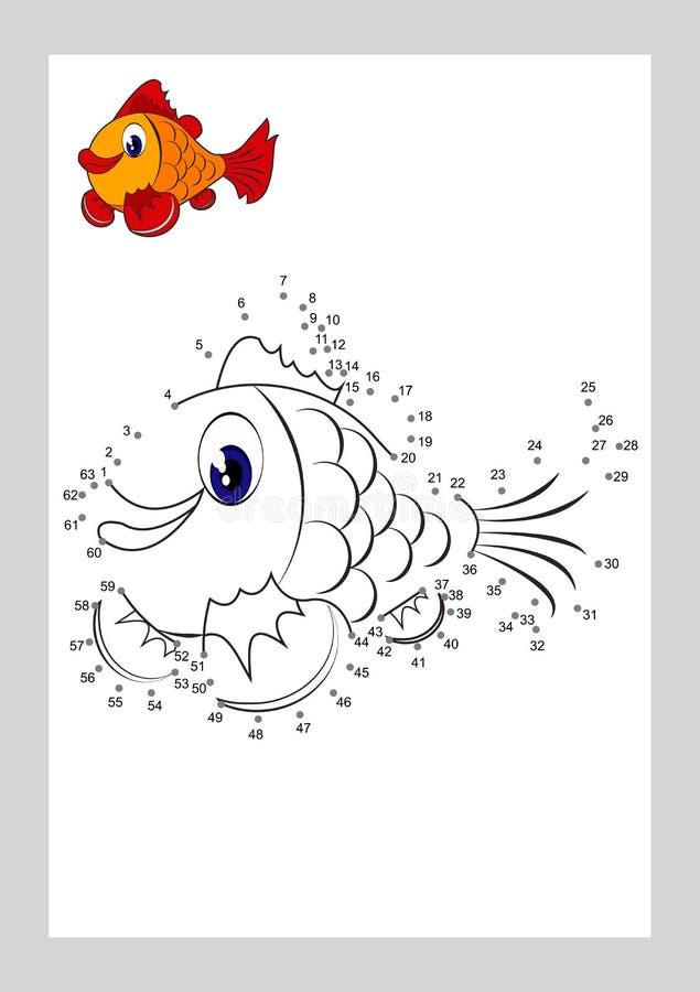 Łączy kropki kolorystyki i gry strony uczy się bezpłatnej formy kształta printable wektor na tle ilustracja wektor