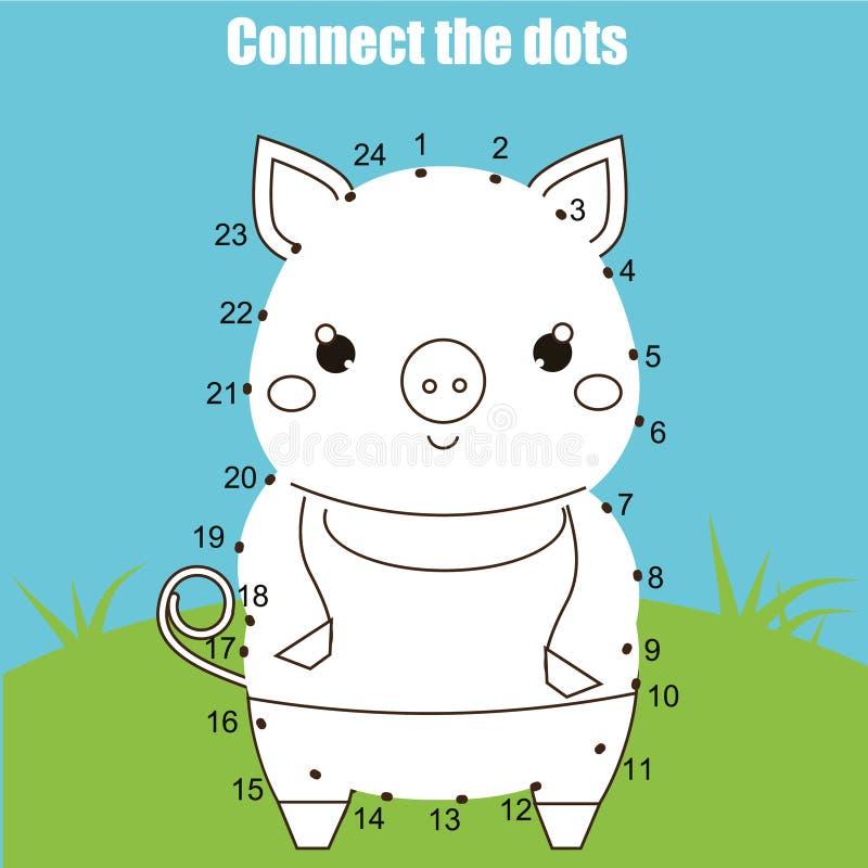 Łączy kropki liczb dzieci edukacyjną grze Printable worksheet aktywność Zwierzę temat, świnia royalty ilustracja