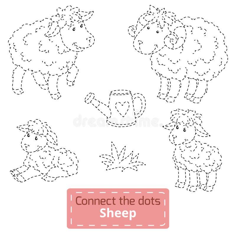 Łączy kropki zwierzęta gospodarskie ustawiający, barania rodzina (,) ilustracja wektor