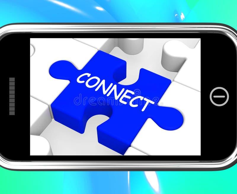 Łączy Na Smartphone Pokazuje Łączących ludzi ilustracja wektor