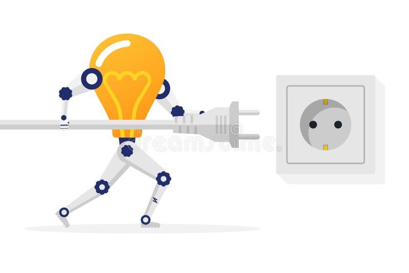 Łączy pomysł Lightbulb robot trzyma sznura elektrycznego wtyczkowego conne ilustracja wektor