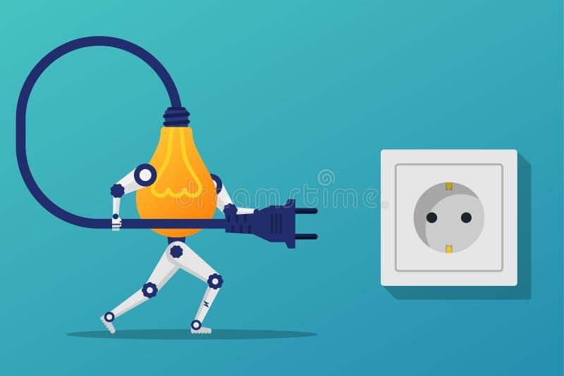 Łączy pomysł Lightbulb robot trzyma sznura elektrycznego wtyczkowego conne ilustracji
