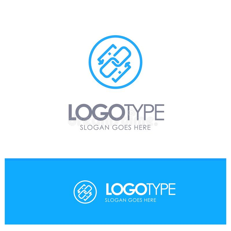 Łączy, Przykuwa, Url, związek, połączenie konturu Błękitny logo z miejscem dla tagline ilustracji