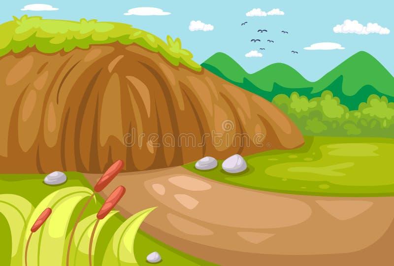 Łąka krajobraz ilustracji