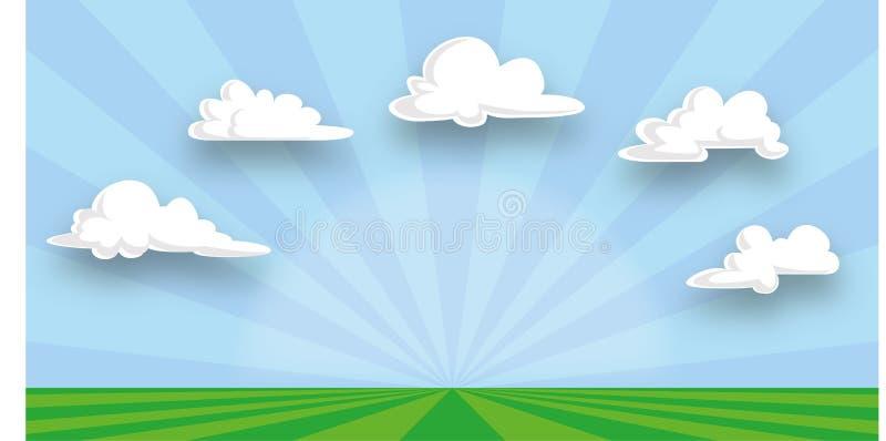 Łąka, tła illsutration i kopii przestrzeń, niebieskiego nieba i chmur royalty ilustracja