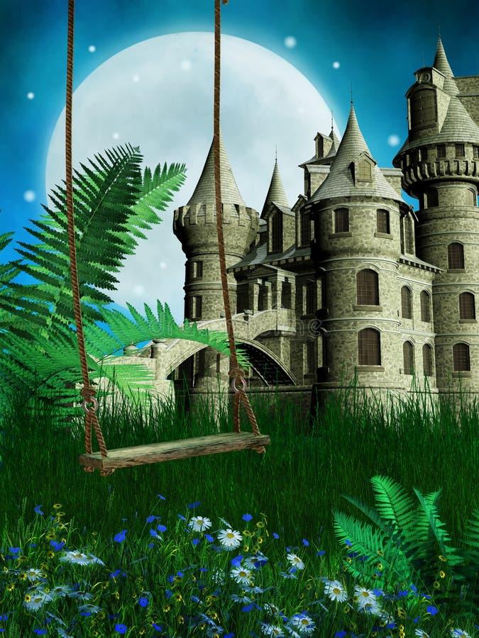 Łąka z huśtawki i czarodziejki kasztelem ilustracji