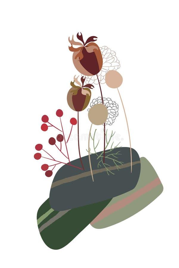 Łąkowego kwiat karty kwiecistego projekta wektorowego elementu pierwotny scandinavian ilustracji