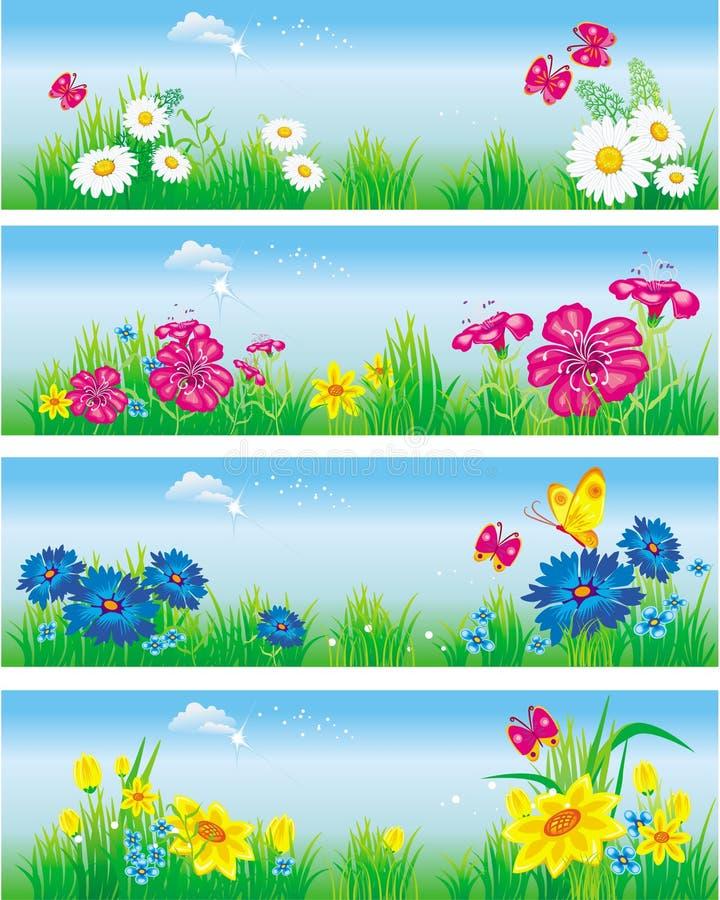 łąkowi sztandarów kwiaty ilustracja wektor