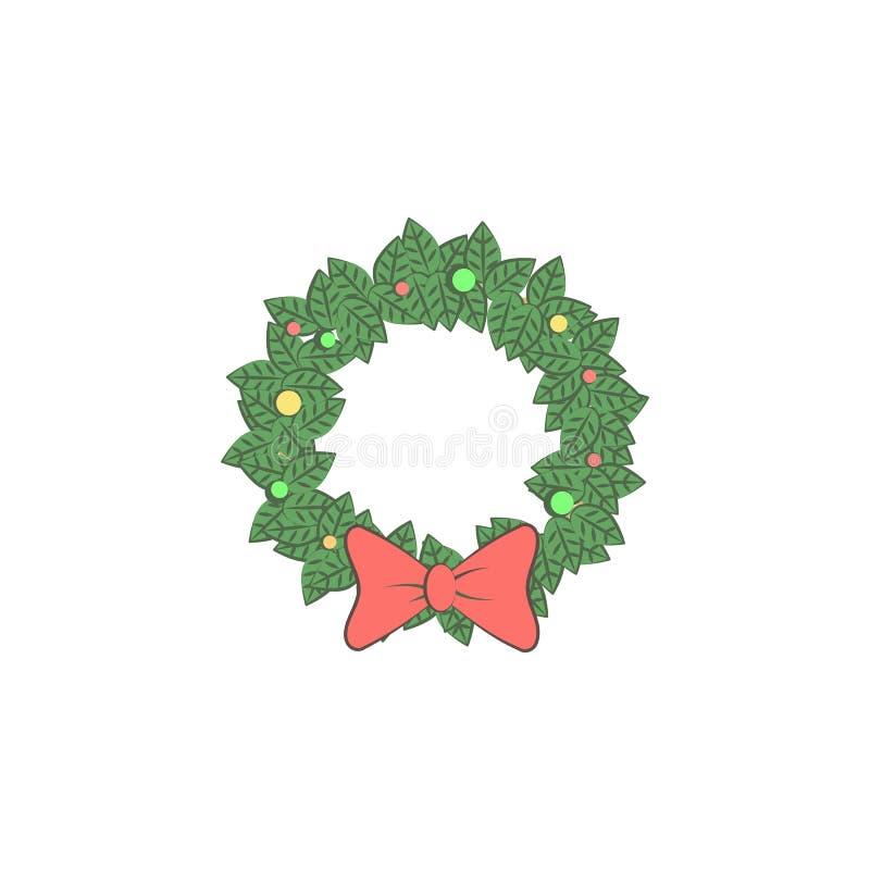 Łęk, Bożenarodzeniowa świąteczna ikona Element boże narodzenia dla mobilnych pojęcia i sieci apps Barwiony łęk, Bożenarodzeniowa  royalty ilustracja
