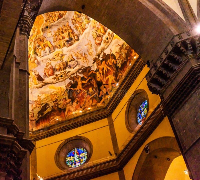 Łękowatego Vasari fresku kopuły Jezusowy Duomo Katedralny Florencja Włochy fotografia royalty free