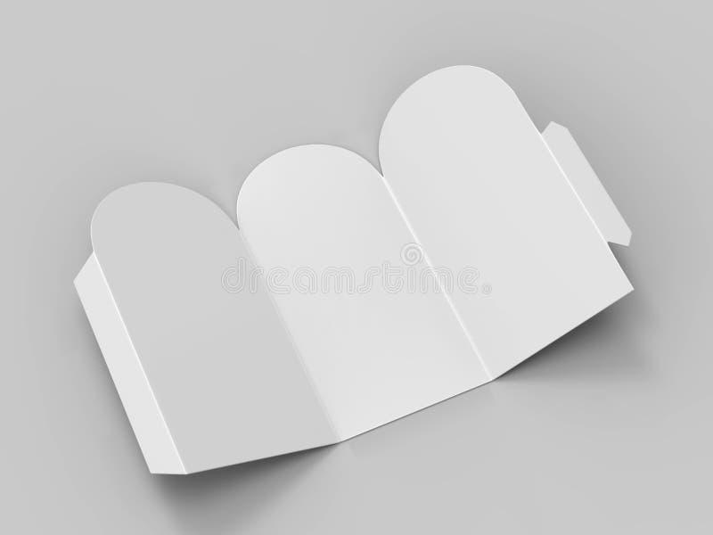 Łękowatej wierzchołka 3 twarzy pastylki namiotu karty rozmówc menu Promocyjnej karty biały puste miejsce Pusty dla egzaminu próbn royalty ilustracja