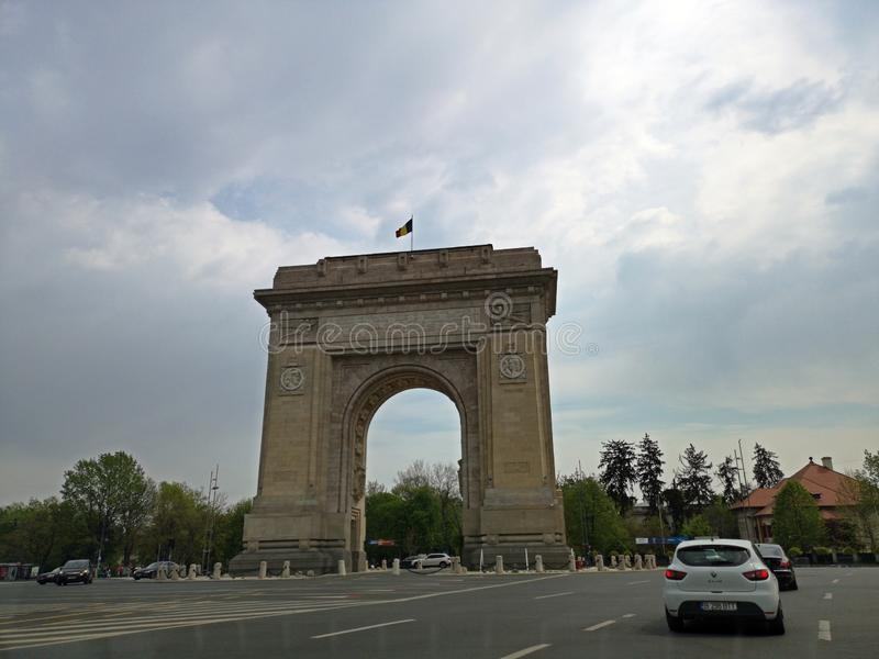 Łękowaty de triumf - Bucharest, Rumunia fotografia stock