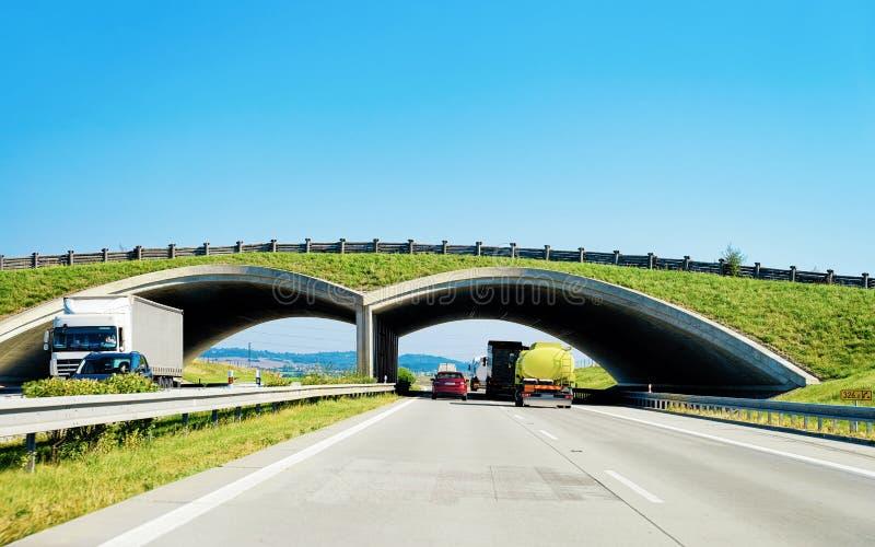 Łękowaty most przy autostrady drogą w Maribor Slovenia fotografia royalty free