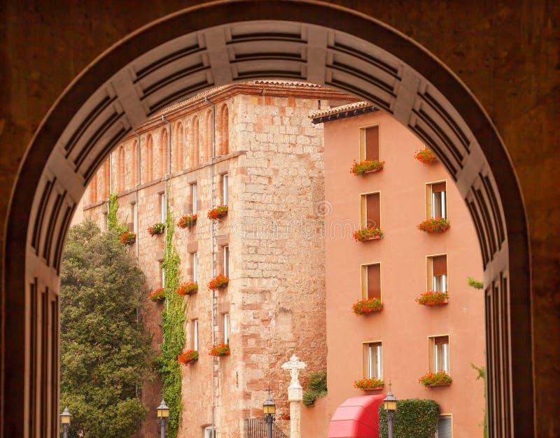 Łękowaty Przecinający Monestir monaster Montserrat Barcelona Hiszpania zdjęcie royalty free