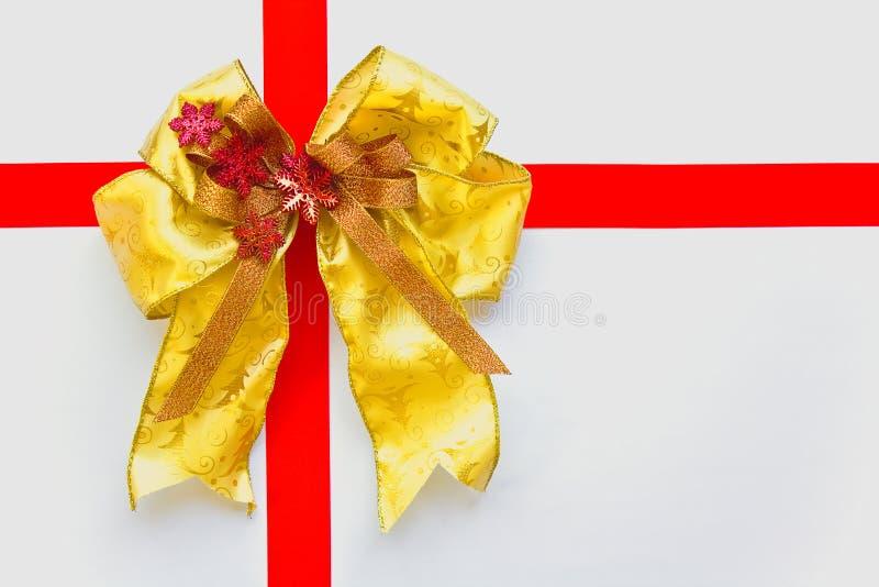 łęku bożych narodzeń złota czerwień zdjęcie royalty free