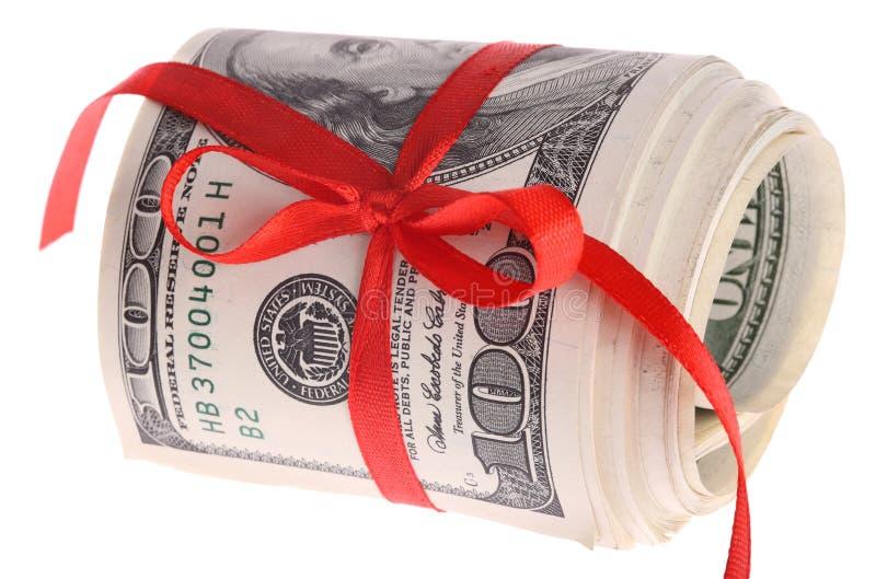 łęku dolarów czerwona rolka obrazy stock