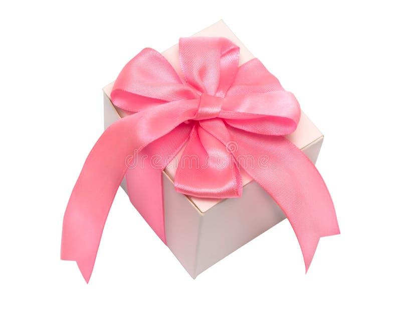 łęku pudełkowatego prezenta śwista tasiemkowy atłasowy biel zdjęcia stock
