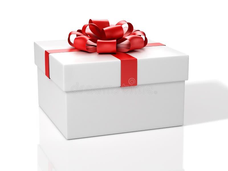 łęku pudełkowatego prezenta czerwony biel ilustracji