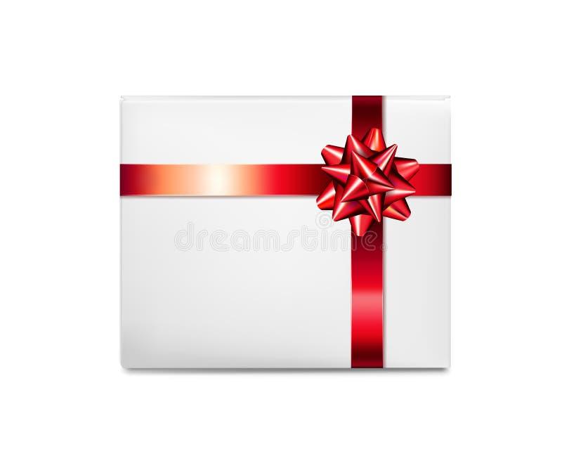 łęku pudełkowatego prezenta czerwony tasiemkowy biel ilustracja wektor