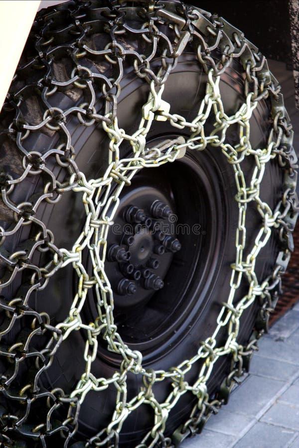 łańcuchów śniegu koło zdjęcie royalty free
