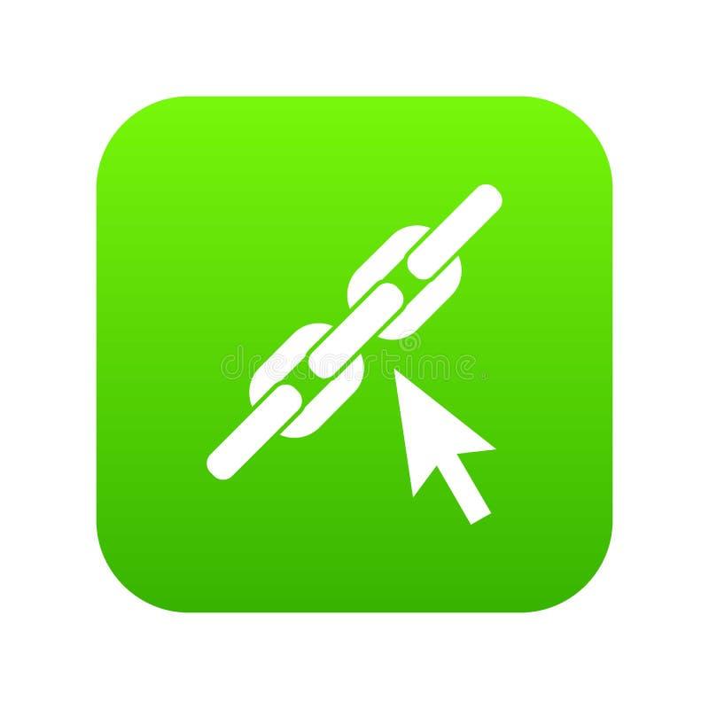 Łańcuszkowego połączenia ikony cyfrowa zieleń royalty ilustracja