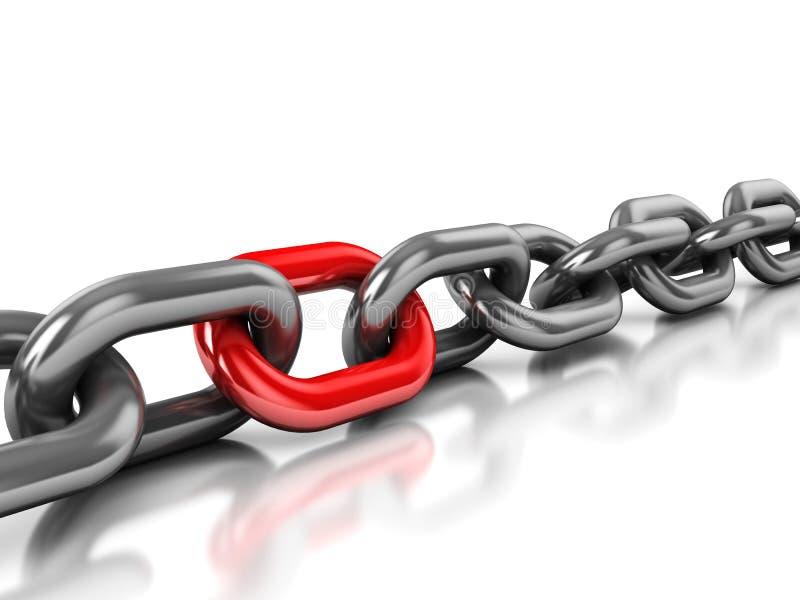 łańcuszkowego połączenia jeden czerwień ilustracji