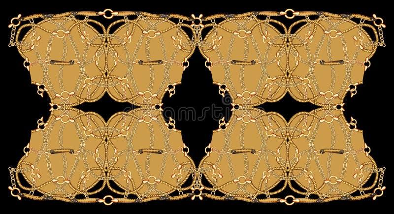 Łańcuszkowego tło Tekstylnego druku tła Ilustracyjna Geometrical grafika ilustracja wektor