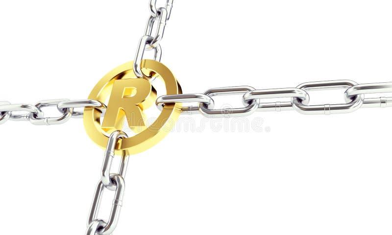 Łańcuszkowi połączenia rejestrowali znaka firmowego złota 3d szyldowe ilustracje na białym tle ilustracji