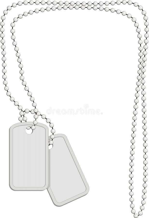 łańcuszkowi tożsamości metalu wojskowego talerze royalty ilustracja