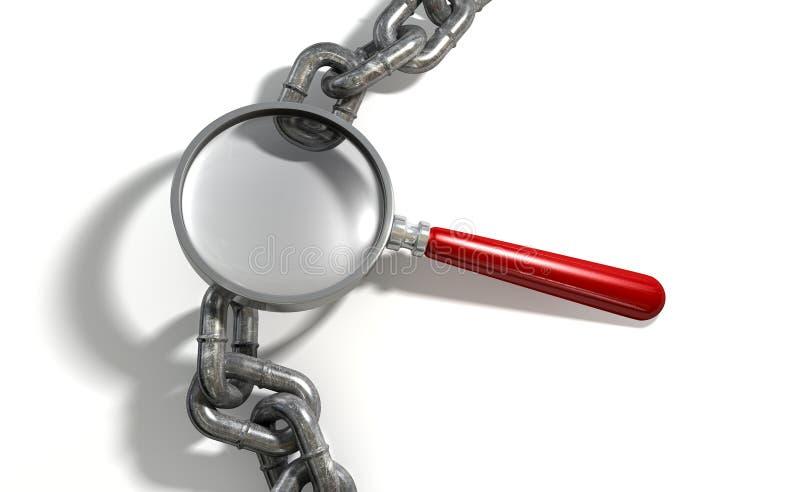 Łańcuszkowy brakujące ogniwo Powiększa - szkło ilustracji