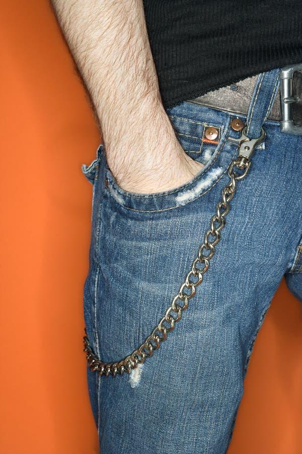 łańcuszkowy ludzi cajgu s portfel. fotografia royalty free