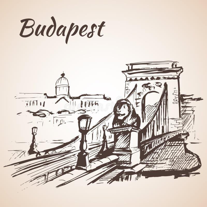 Łańcuszkowy most - Budapest, Węgry royalty ilustracja