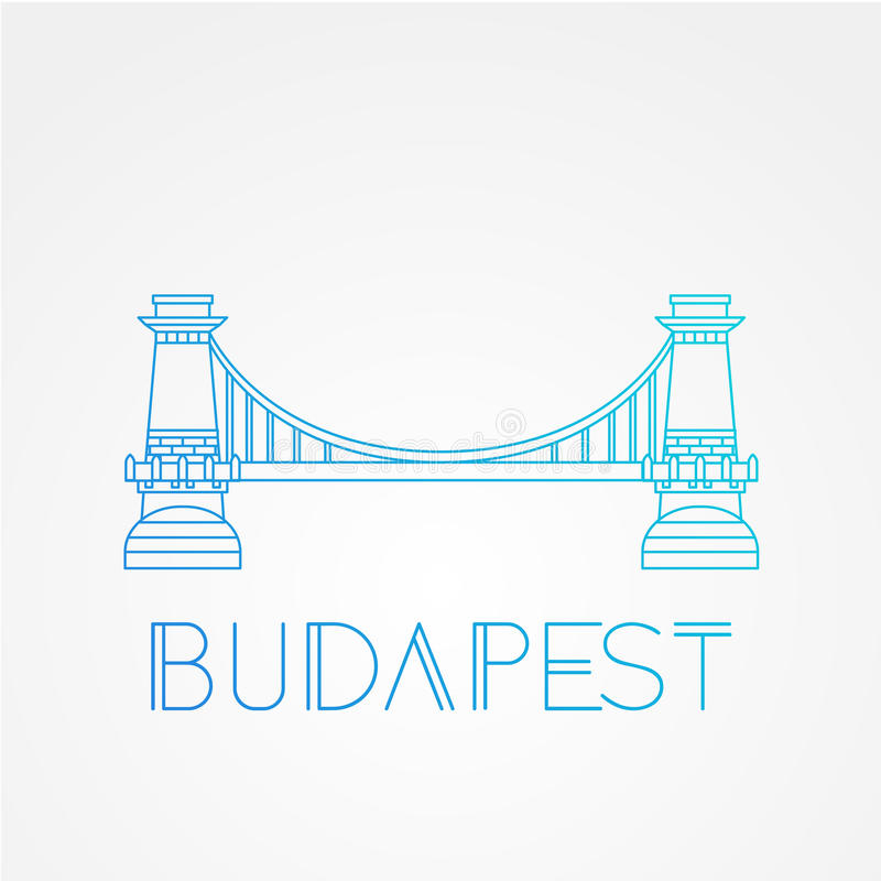 Łańcuszkowy most Symbol Budapest, Węgry ilustracja wektor