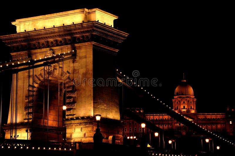 Łańcuszkowy most z Buda kasztelem w Budapest, Węgry zdjęcie stock