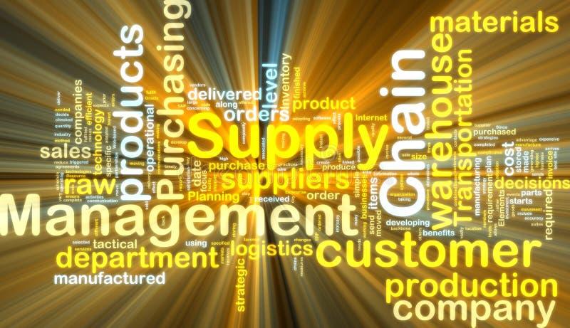 łańcuszkowy rozjarzony zarządzania dostawy wordcloud ilustracja wektor