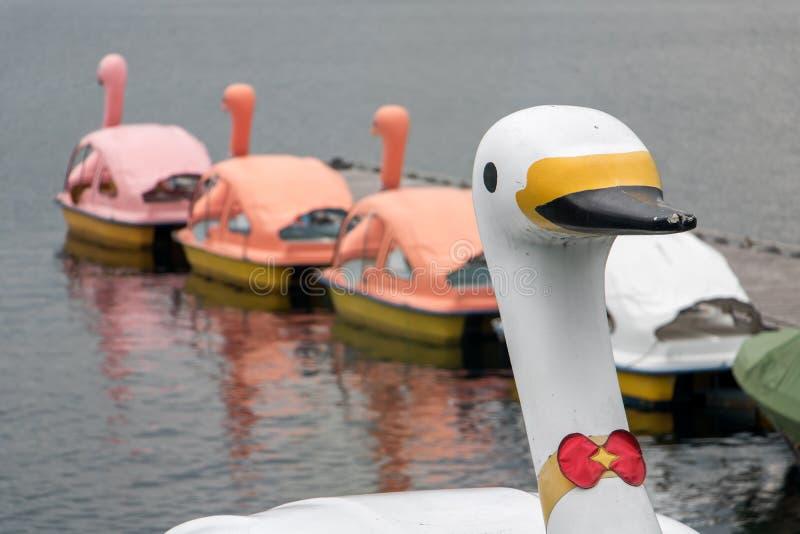 Łabędź pedałowe łodzie na Jeziornym Kawaguchi, Japonia zdjęcie royalty free
