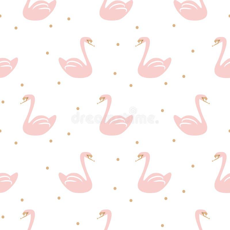 Łabędź różowego ślicznego dziecka wektoru prosty bezszwowy wzór ilustracji
