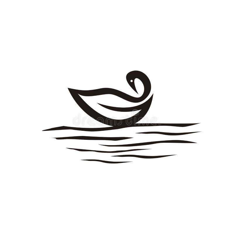 Łabędzi logo projekt w jeziorze royalty ilustracja