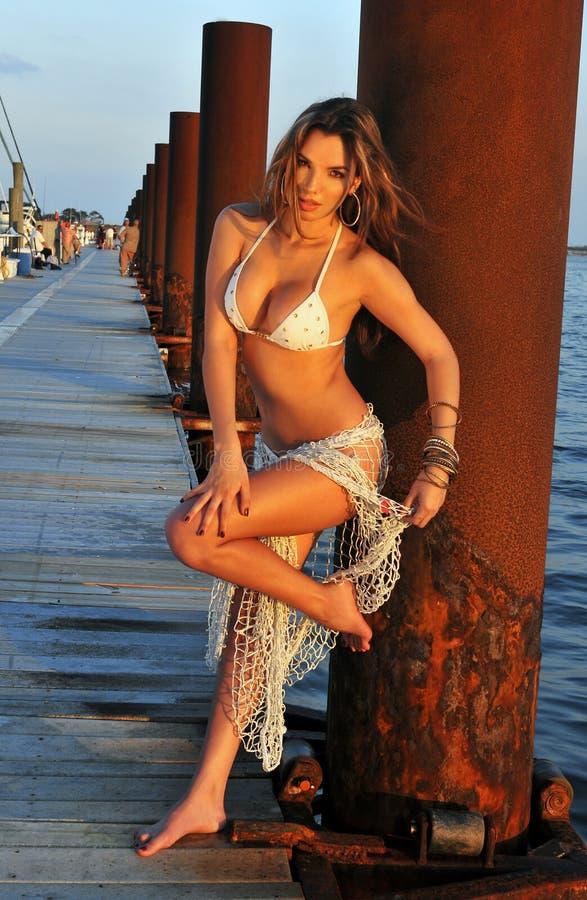 Łaciński swimsuit mody model pozuje przy łódkowatym marina zdjęcie stock
