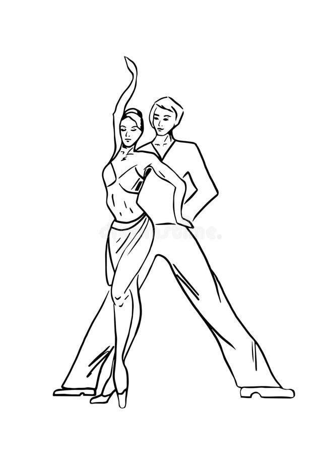 Łacina tanowie, tanczy pary royalty ilustracja